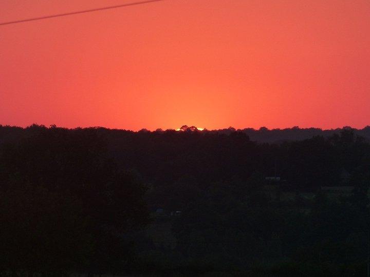 Coucher du soleil,ciel rouge.