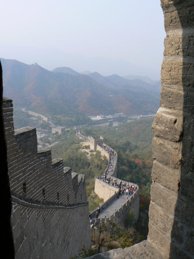 Sur la grande muraille de chine.