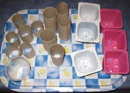 Recyclage d'emballages pour l'atelier semis