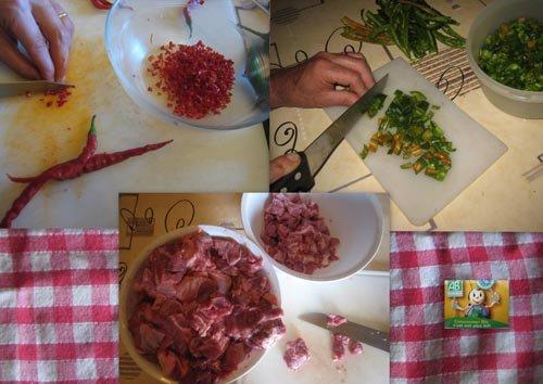 Etape 2 : piments et viande de veau