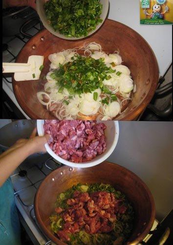 Etape 3 : compotée de piments et d'oignons